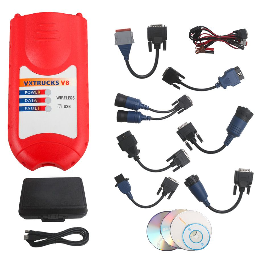 Bluetooth Version VXTRUCKS V8 USB Link Wireless Heavy Duty Diagnose Interface with All Adapters