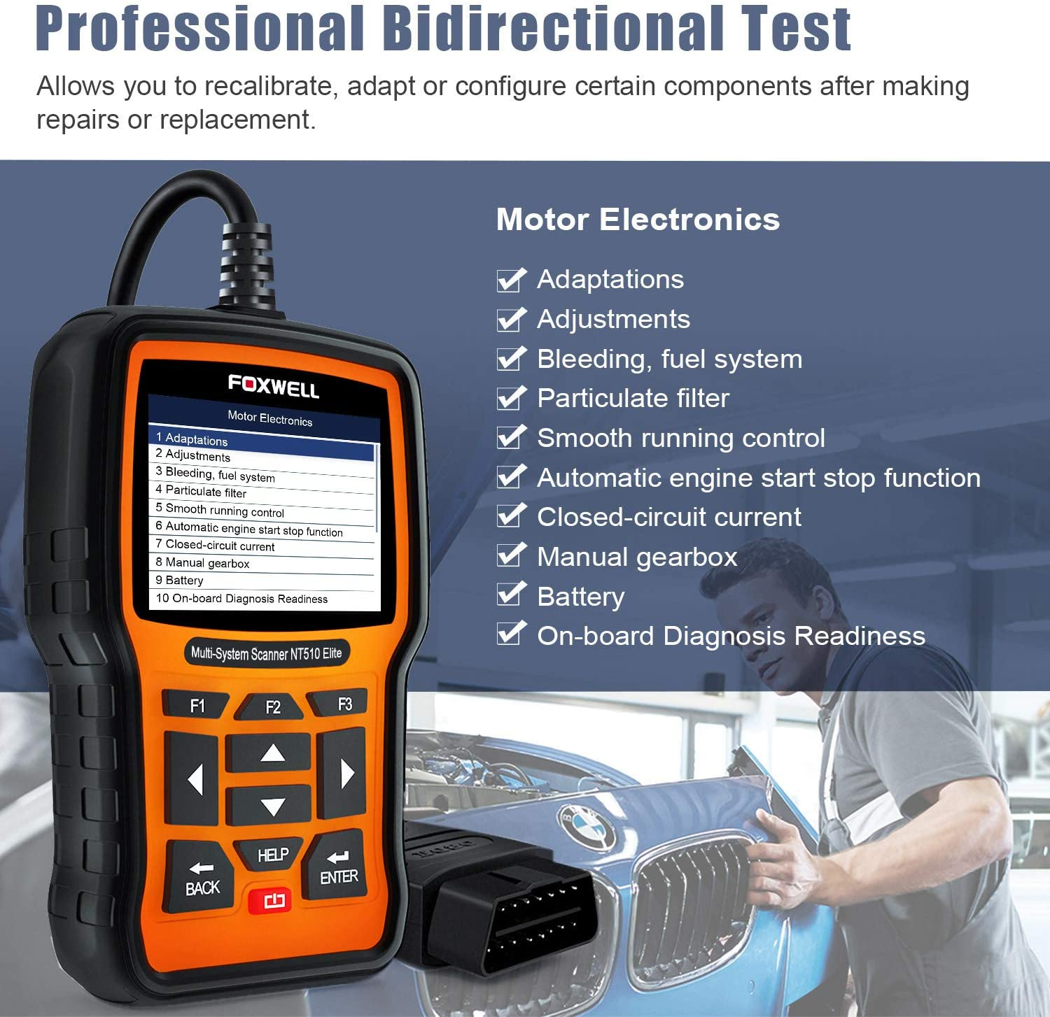 Foxwell NT510 Multi-System Scanner with 1 Free Car Brand Software+OBD Free Update Lifetime Free Shipping From US