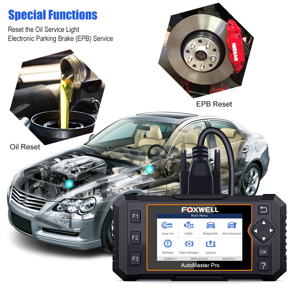 Foxwell NT624 Elite OBD2 EOBD Automotive Scanner Full System Code Reader EPB Oil Reset OBD 2 Auto Scanner Car Diagnostic Tool