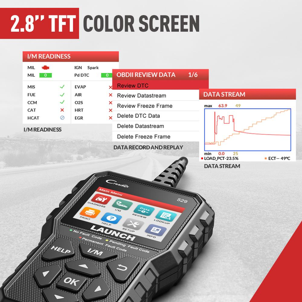 LAUNCH Creader 529 CR529 OBD2 Scanner Automotive Diagnostic Tool OBDII Code Reader Fault Code Read OBD Scan