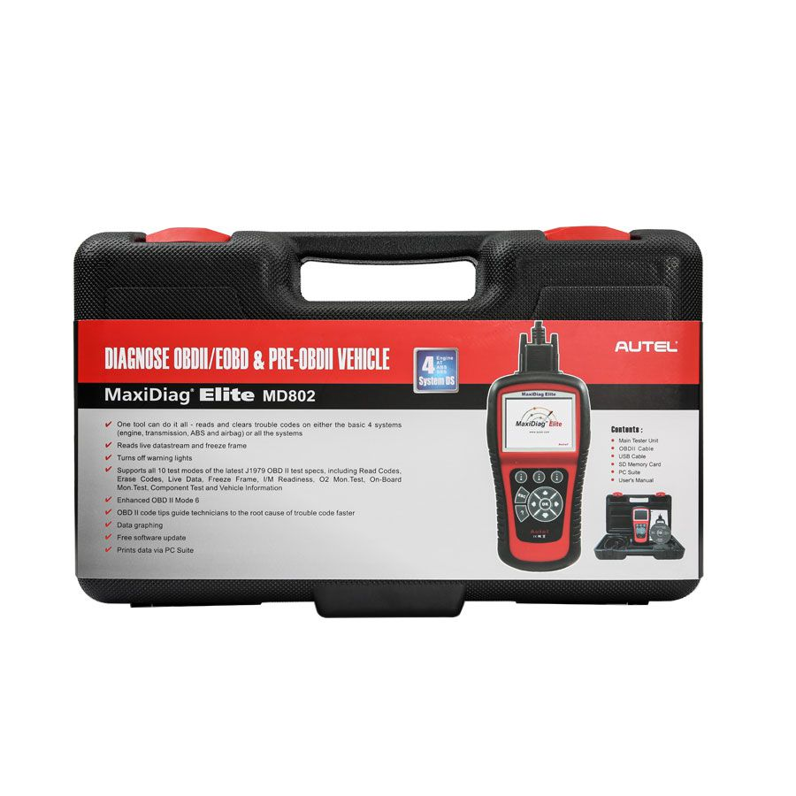 Original Autel MaxiDiag Elite MD802 for 4 System DS Model Supports Online Update