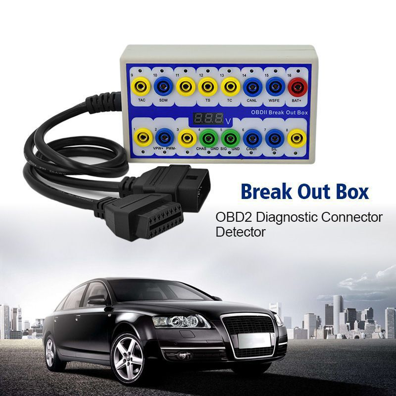 Newest OBDII Break out Box obd Breakout Box Car Protocol Detector