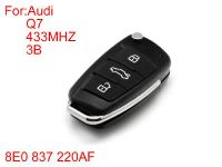 Remote Key 3 Buttons 433MHZ (with special 8E chips)Q7 8E0 837 220AF for Audi