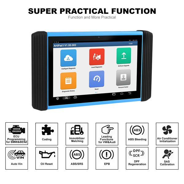 WiFi TOPDON ArtiPad I Tablet OBDII Diagnostic Scan Tool  Support ECU Coding and Reprogramming Batter than Autel MaxiSys Elite