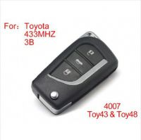 Modified Remote Key 3 Buttons 433MHZ for Toyota (not including the chip)