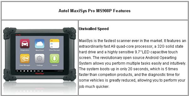 autel maxisys pro ms908p features