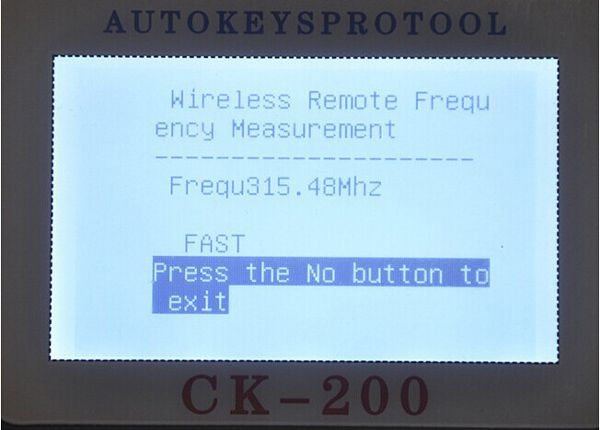 CK-200 Key Programmer Screen Display 4