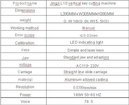 L1 Vertical key cutting machine details