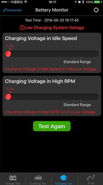 Battery Monitor BM2  test on a battery