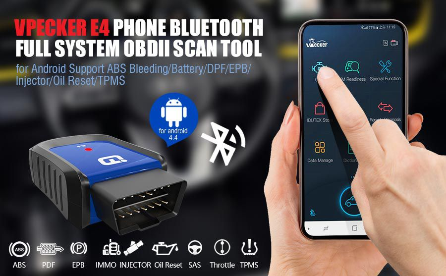 VPECKER E4 Phone Easydiag Bluetooth Full System OBDII Scan Tool